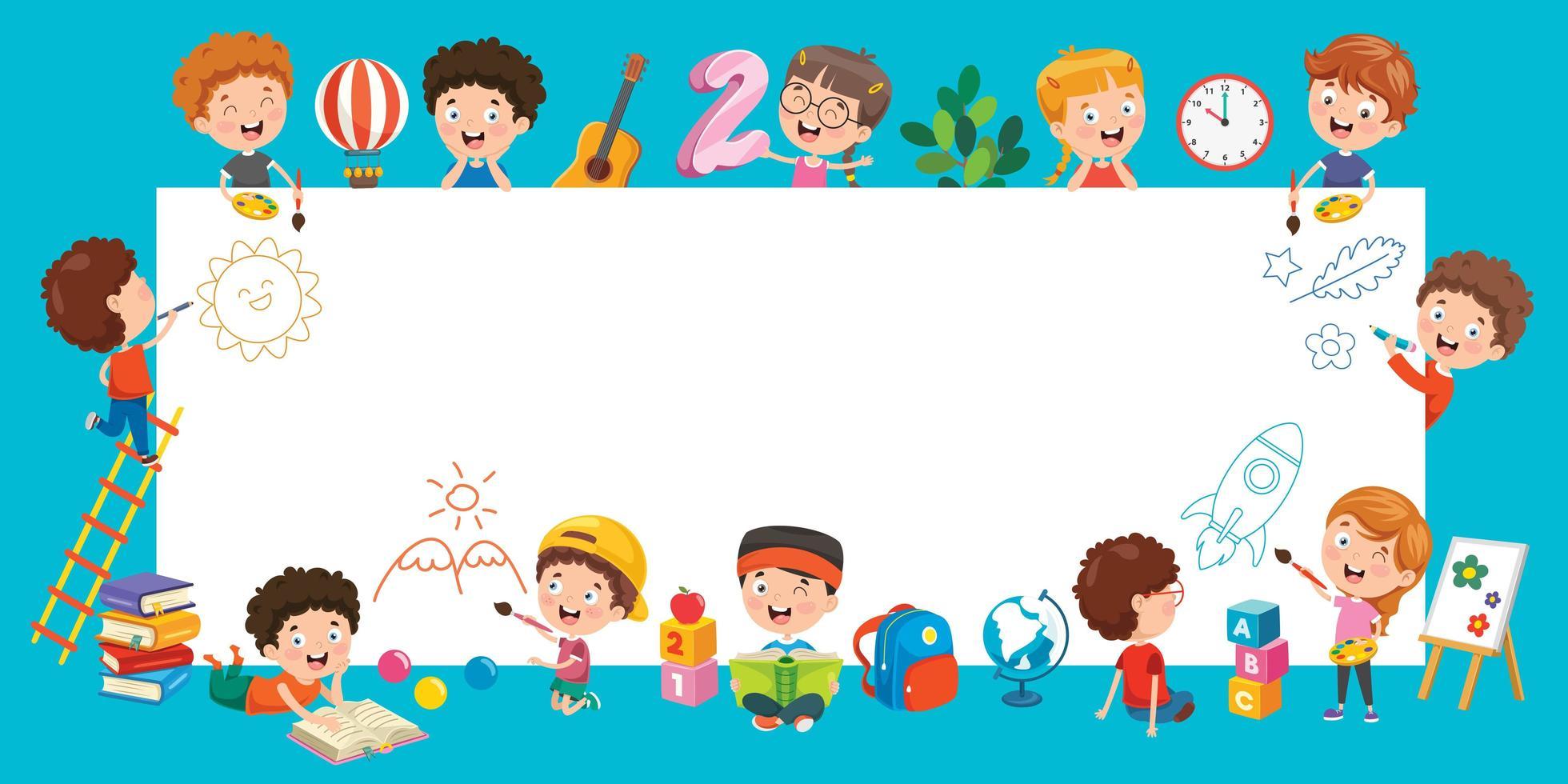 enfants de dessin animé avec un cadre avec espace de copie vecteur