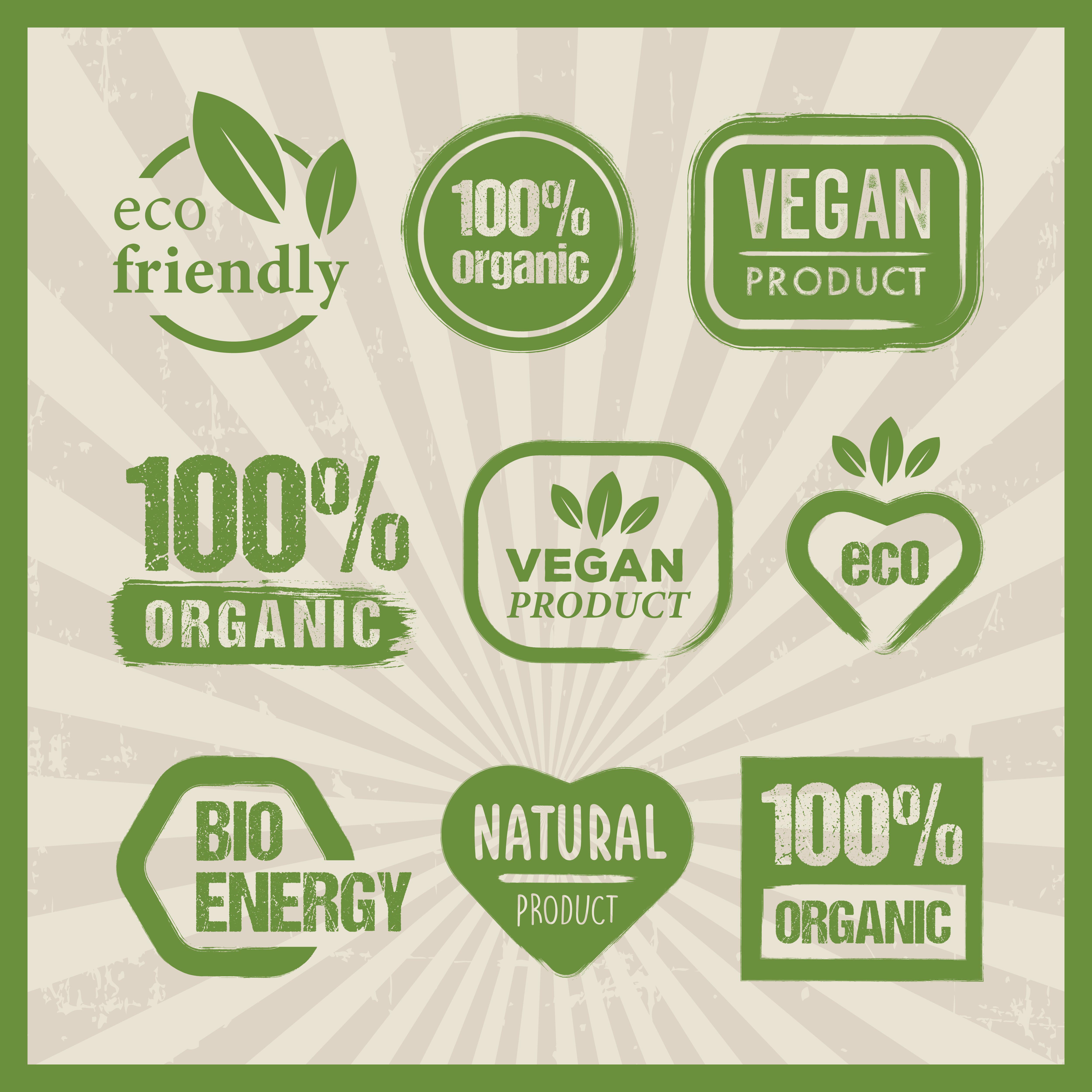 Organic Green Fresh Symbols Set