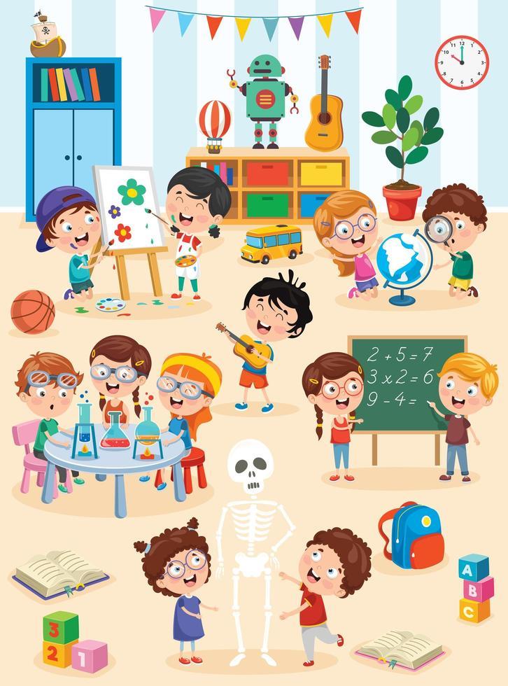 crianças estudando e brincando na sala de aula pré-escolar vetor