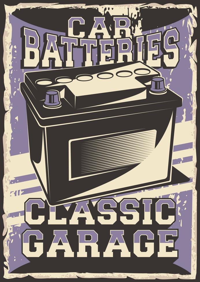 Auto Service Autobatterie Poster vektor