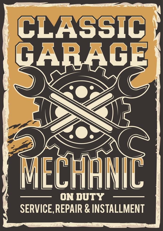 Retro Car Mechanic Repair Poster vector