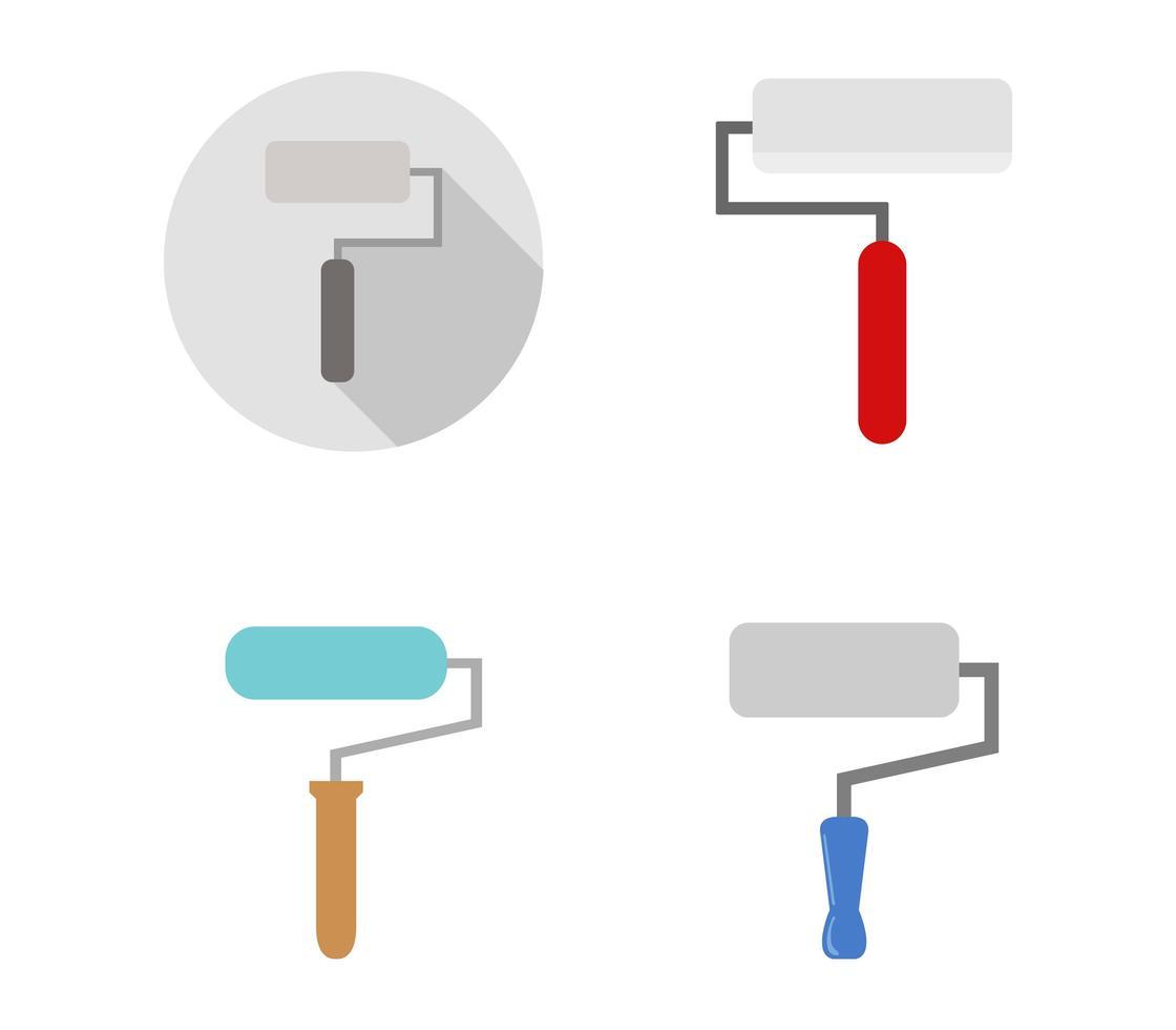 conjunto de iconos de rodillo de pintura vector