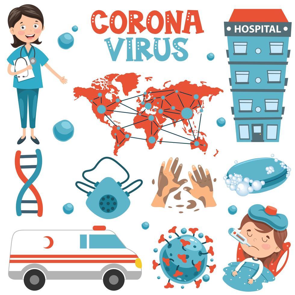 conjunto de coronavirus y elementos médicos para el cuidado de la salud vector