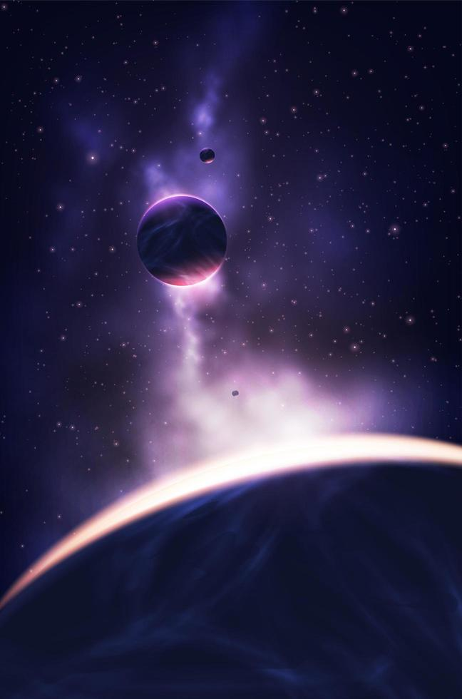 Ilustración de nebulosas y planetas brillantes vector