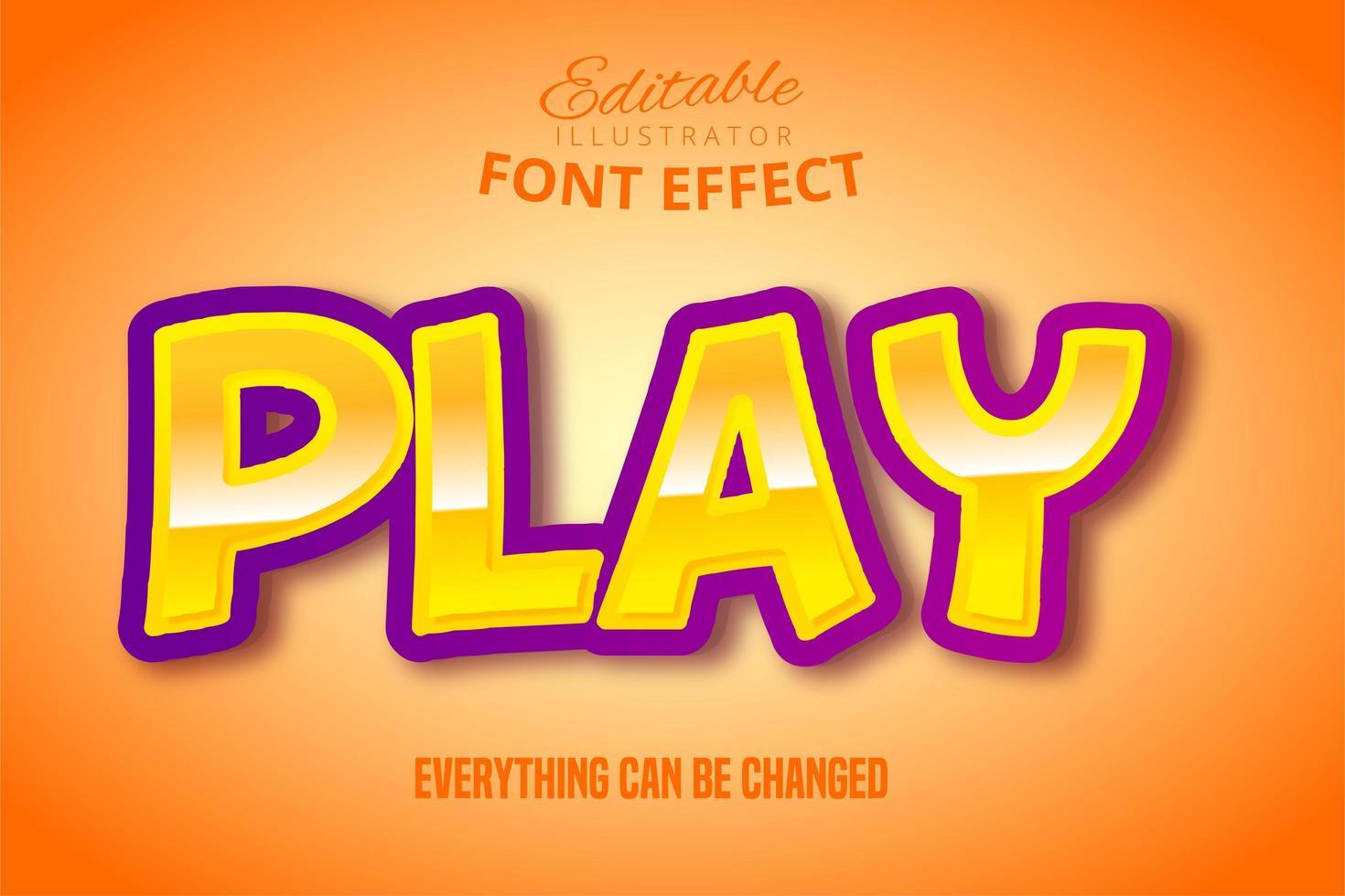Metallic Yellow Play Text Effect  vector