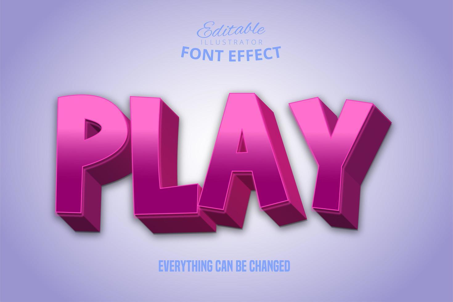 jugar efecto de texto rosa brillante vector