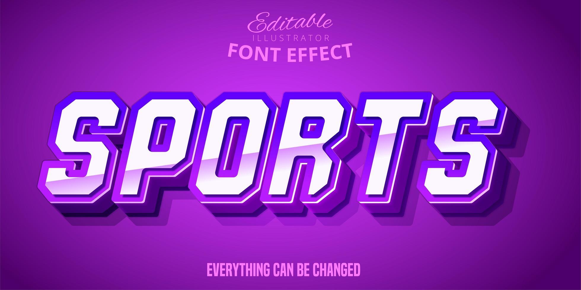 efecto de texto deportivo negrita púrpura vector