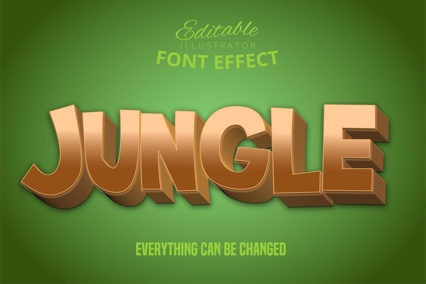 efecto de texto de selva dorada vector