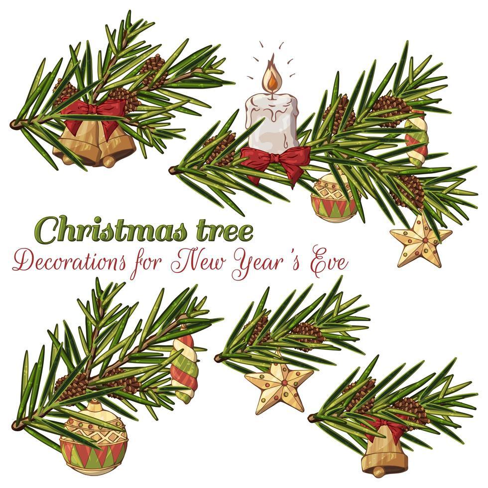 ramas dibujadas a mano con adornos navideños vector