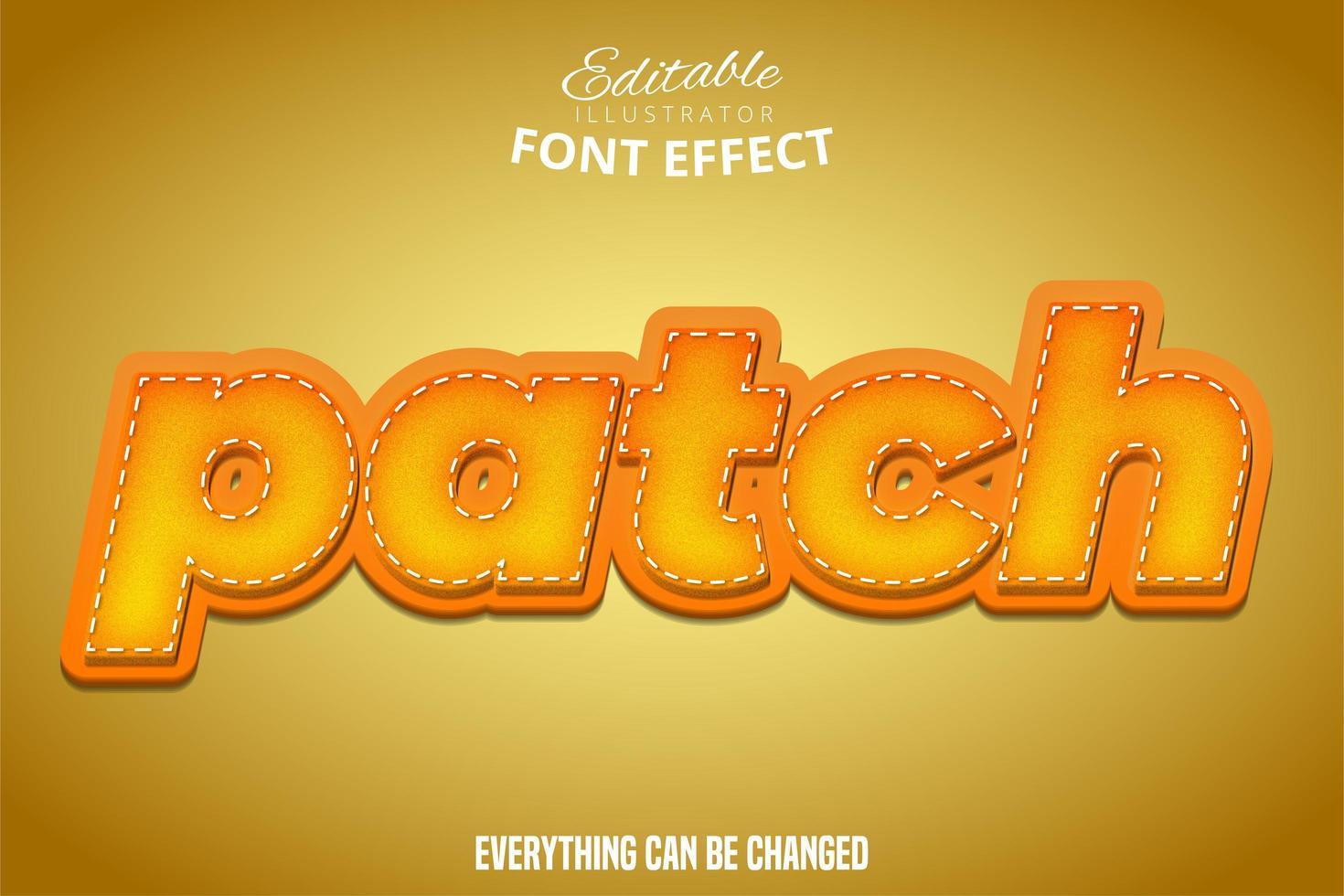 effetto testo patch arancione vettore
