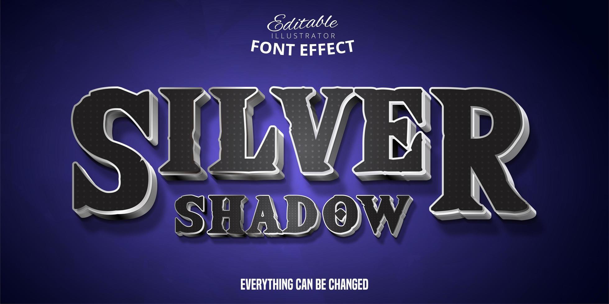 effetto testo ombra argento vettore
