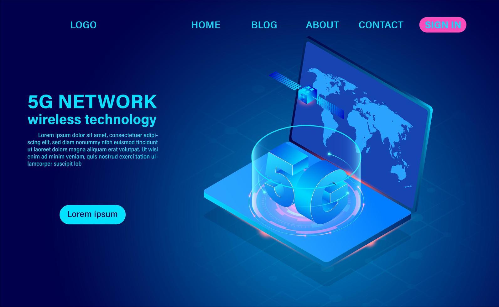 Technologie de réseau 5g sur ordinateur portable vecteur