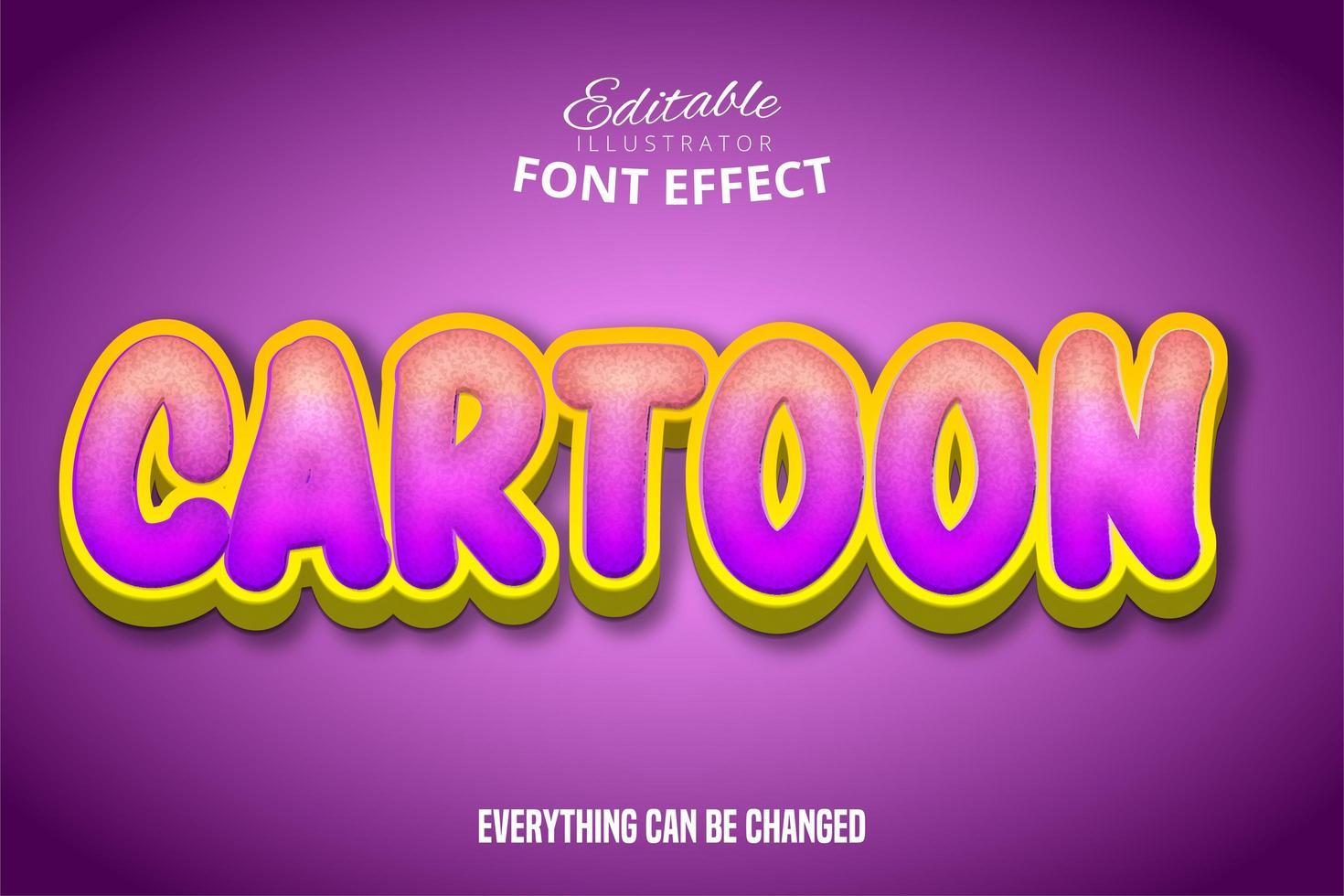 efecto de texto de dibujos animados con textura degradado vector
