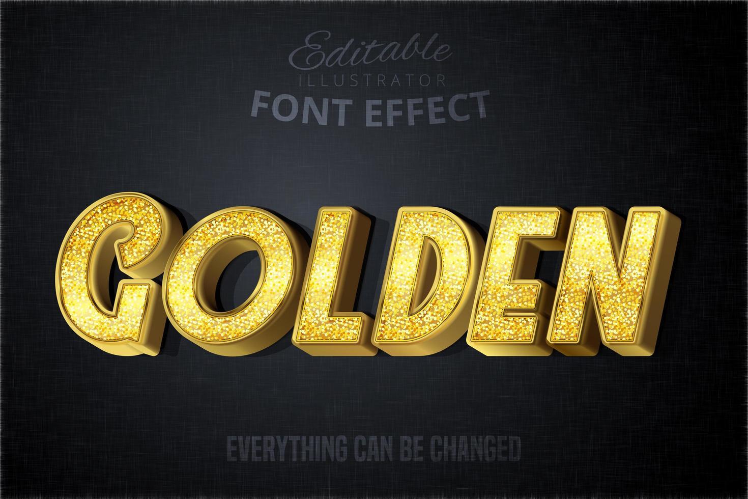 efecto de texto dorado glitch vector