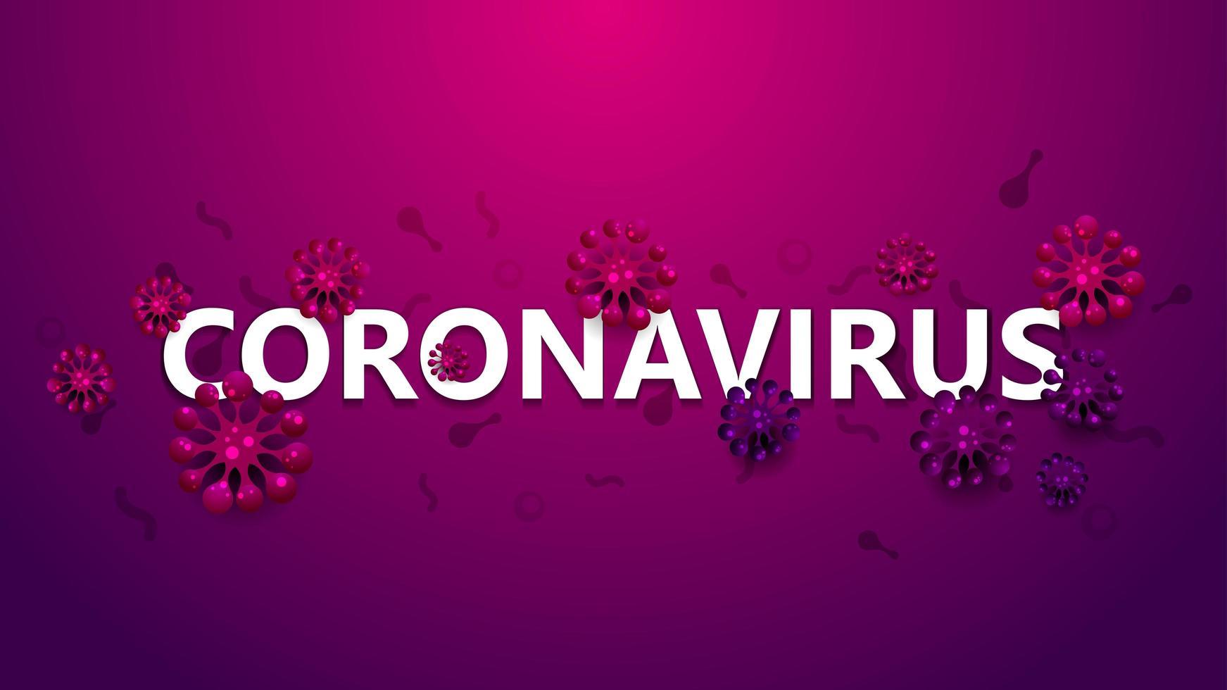 Pink Warning Poster with Coronavirus Molecules vector