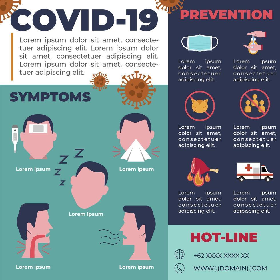 volante virus covid-19 pandemia folleto informativo vector