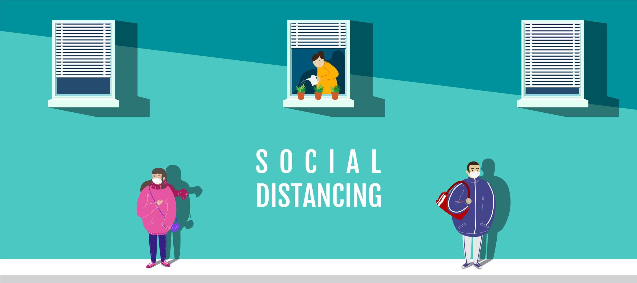 Poster with Characters in Masks Social Distancing vector