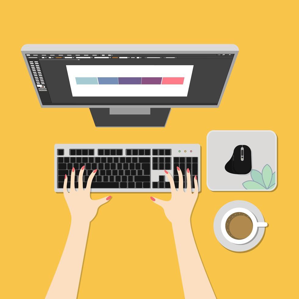 espacio de trabajo con la mano usando computadora, mouse y café. vector