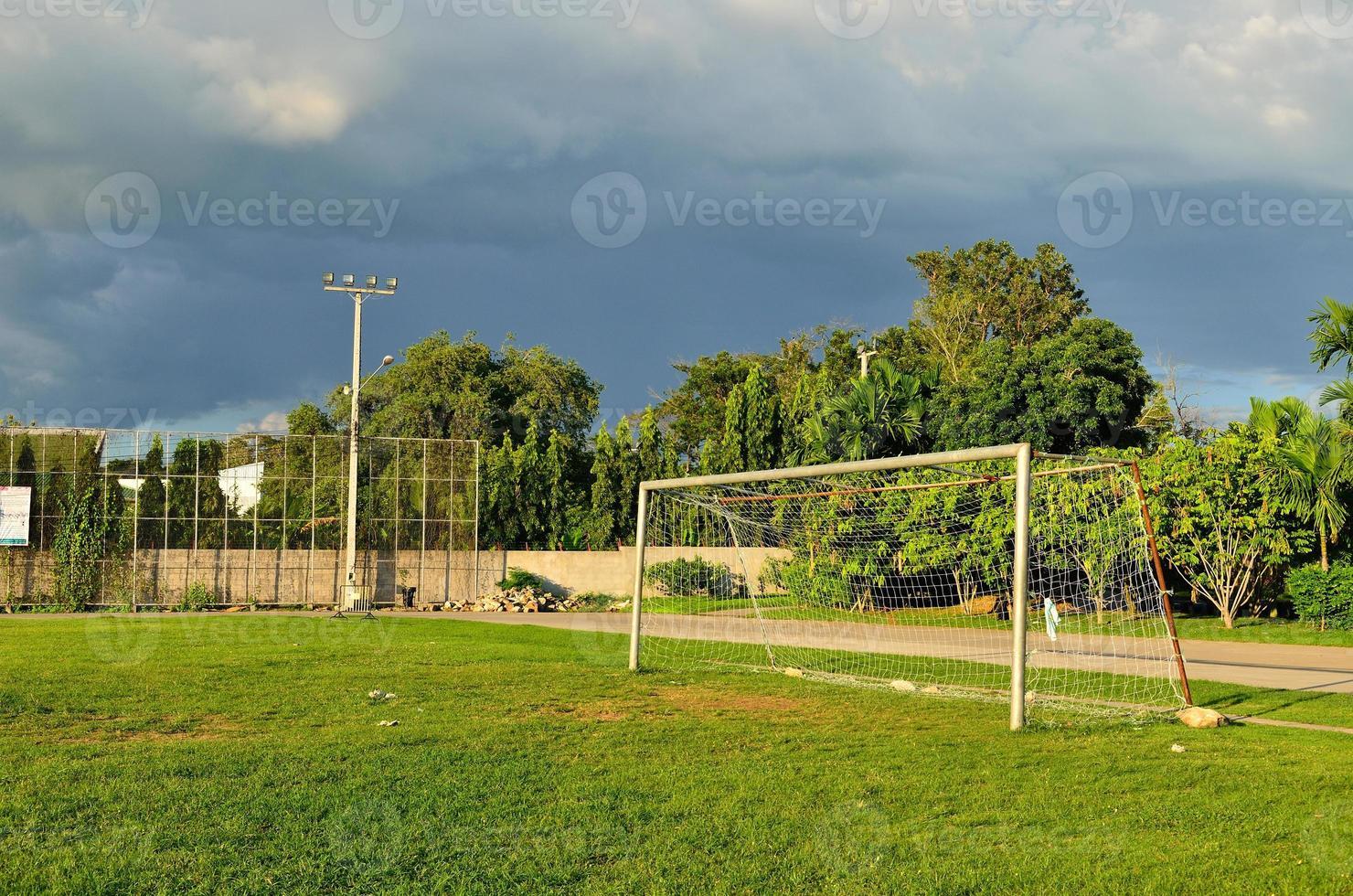 Soccer field in urban school photo