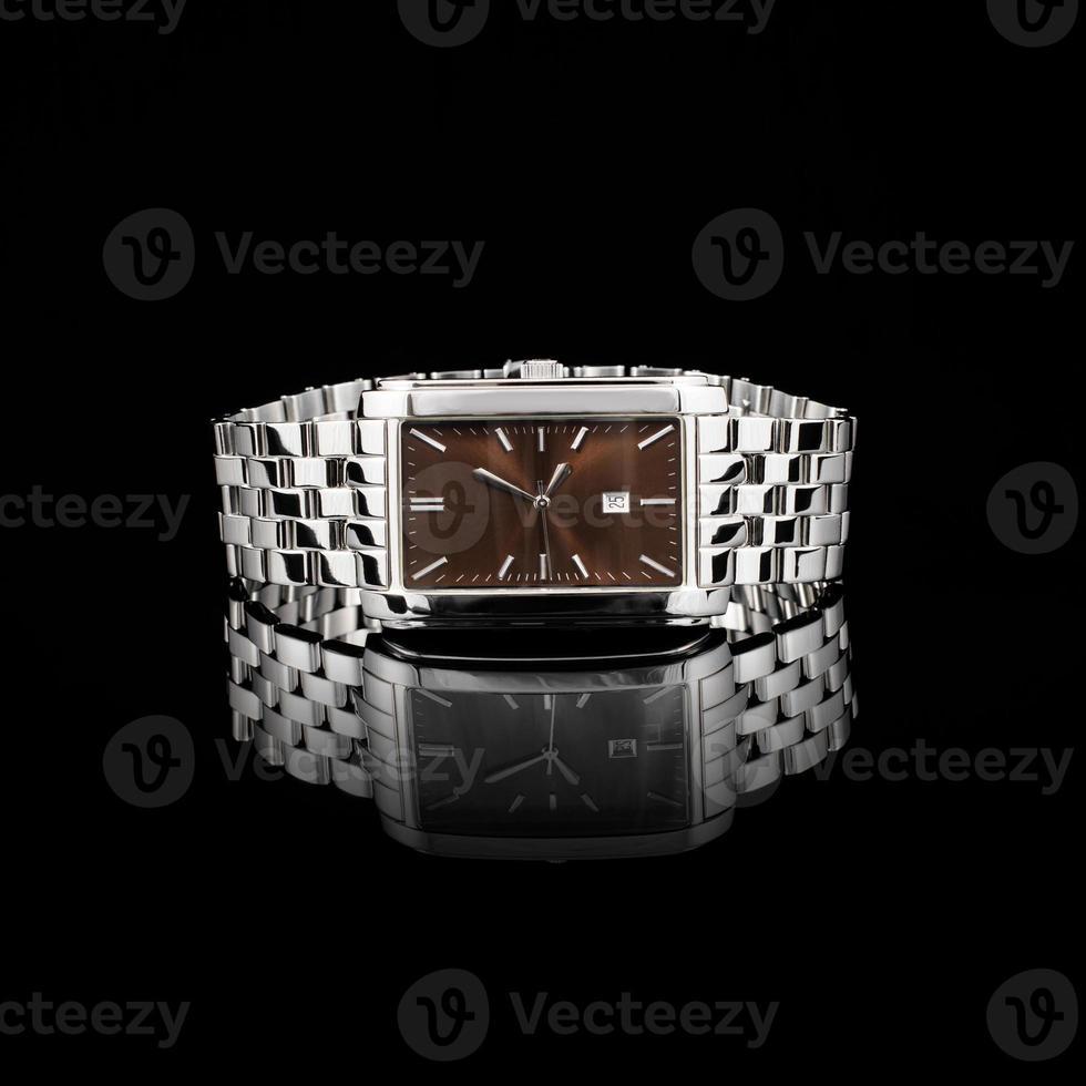 Swiss watches on black background photo
