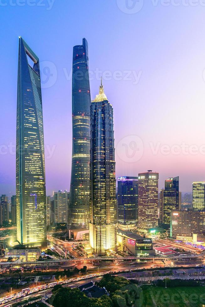 elevated view of Shanghai at Sunset - vertical format photo
