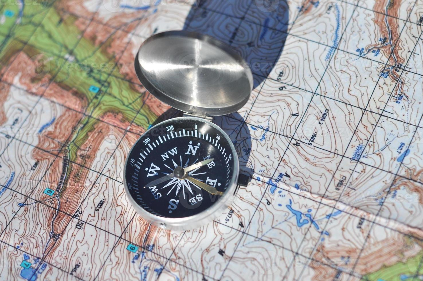 Compass and map. photo