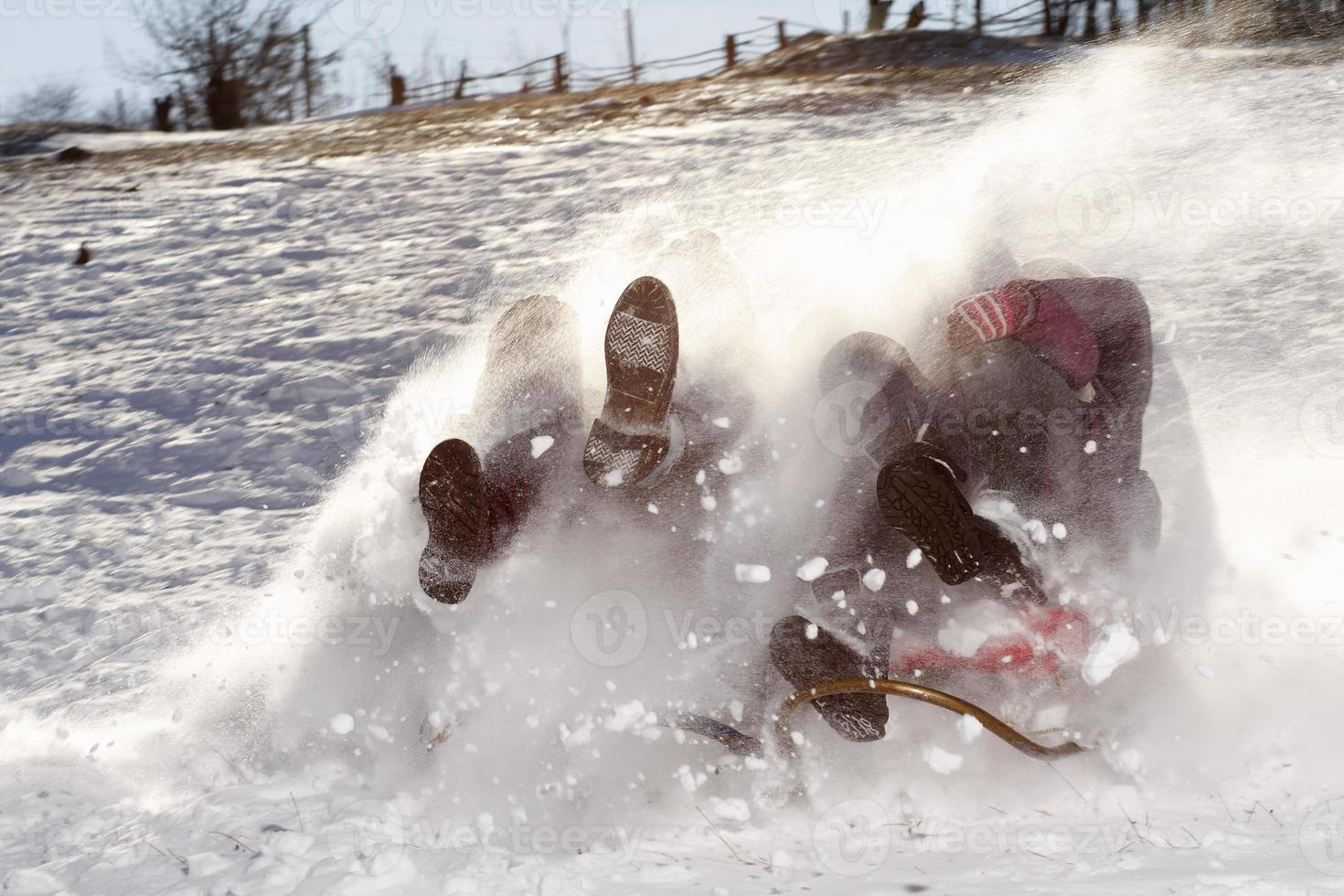 Family at high speed on a sled photo