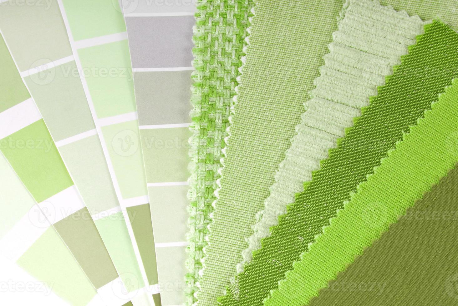 Tapicería, cortina y selección de color para interior foto