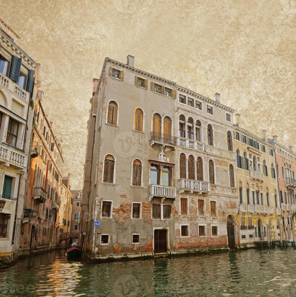 Venice on old canvas background,vintage style photo