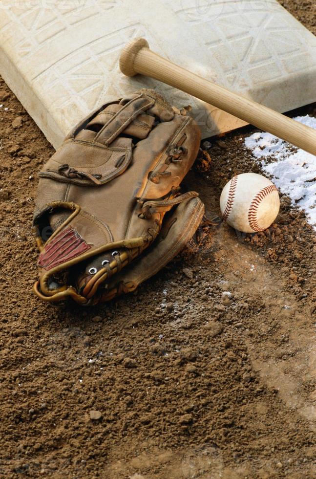Baseball, Glove with Bat and Base photo
