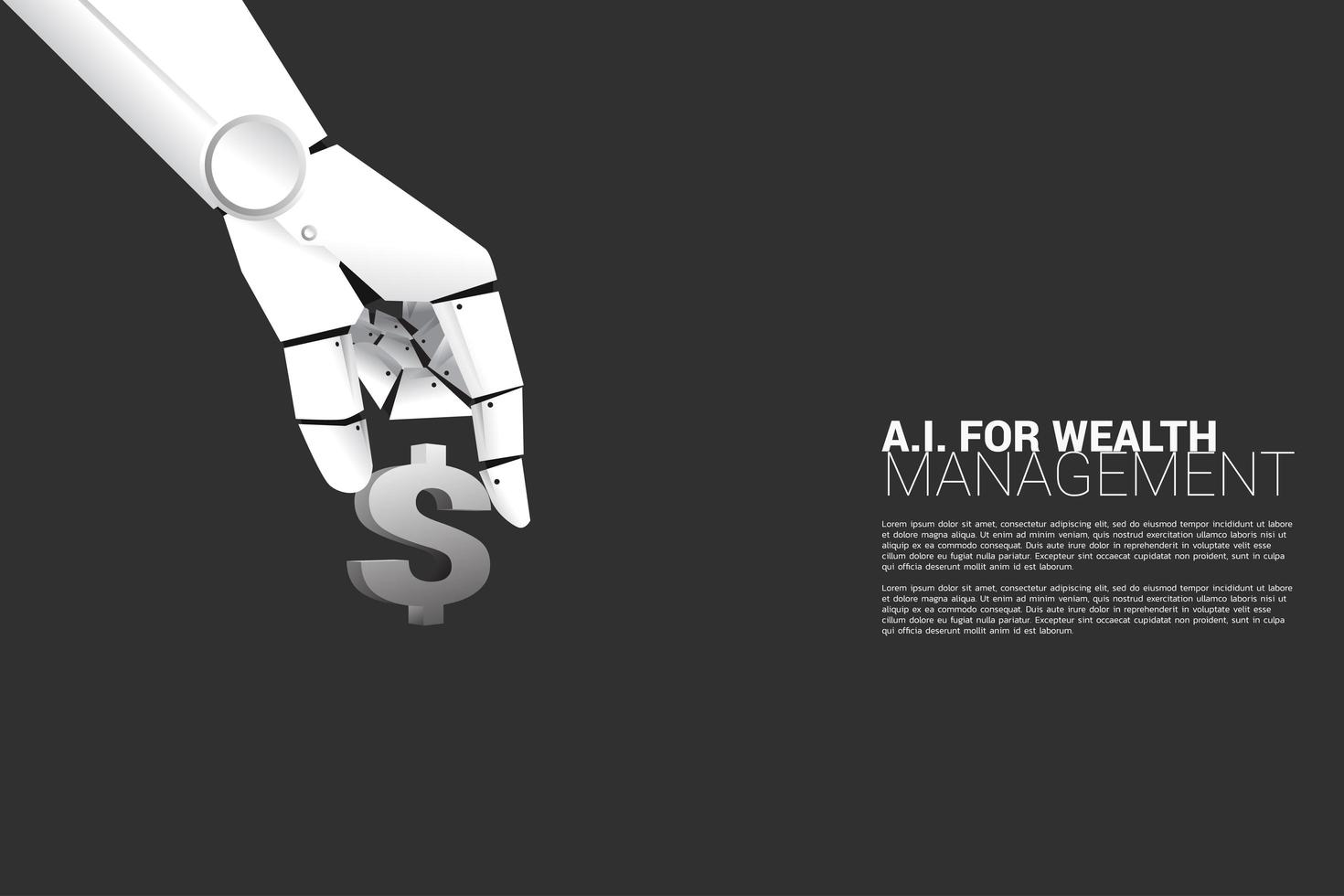 Close up robot hand with dollar icon vector