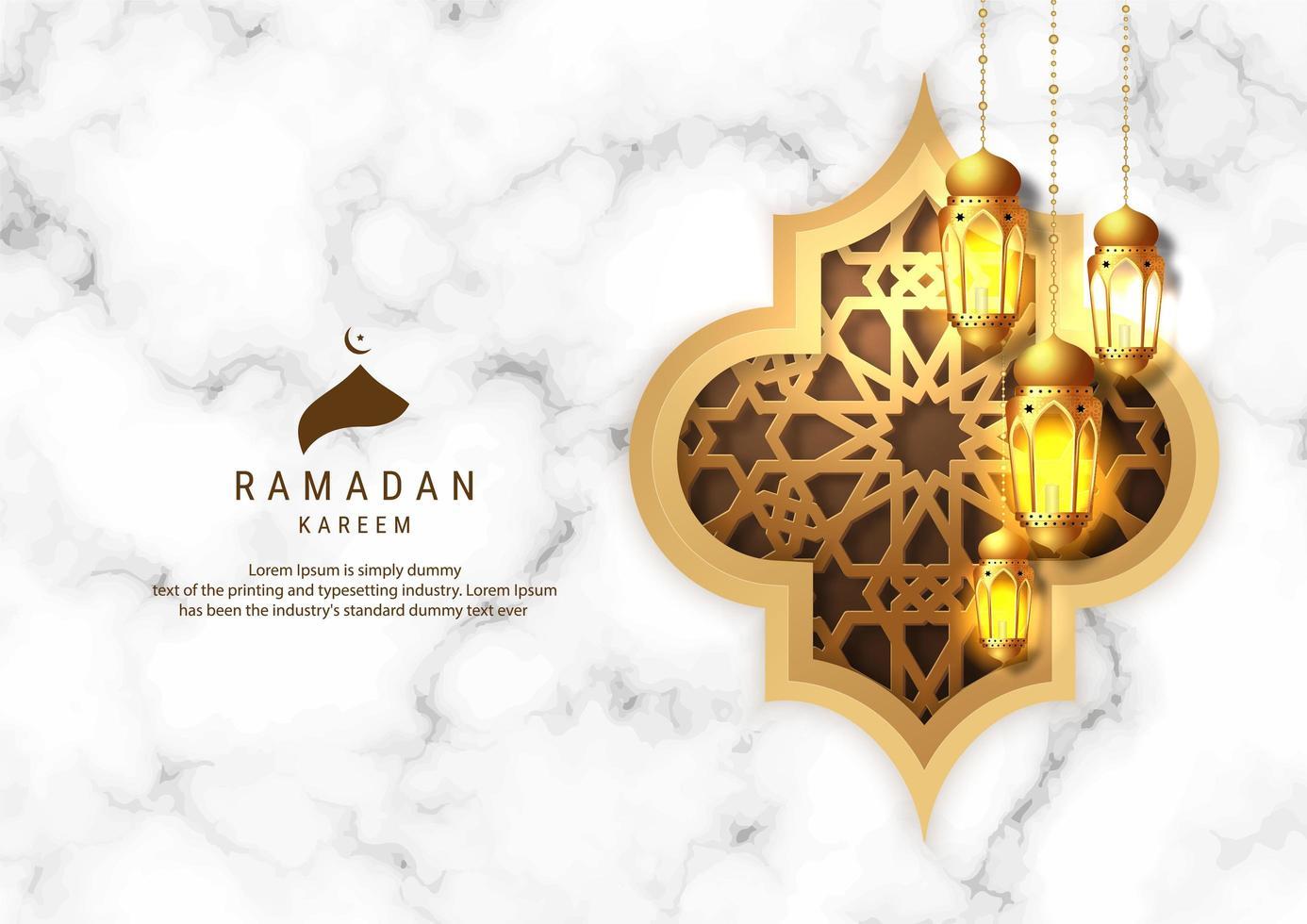 Lanterne Ramadan Kareem su sfondo di marmo bianco vettore