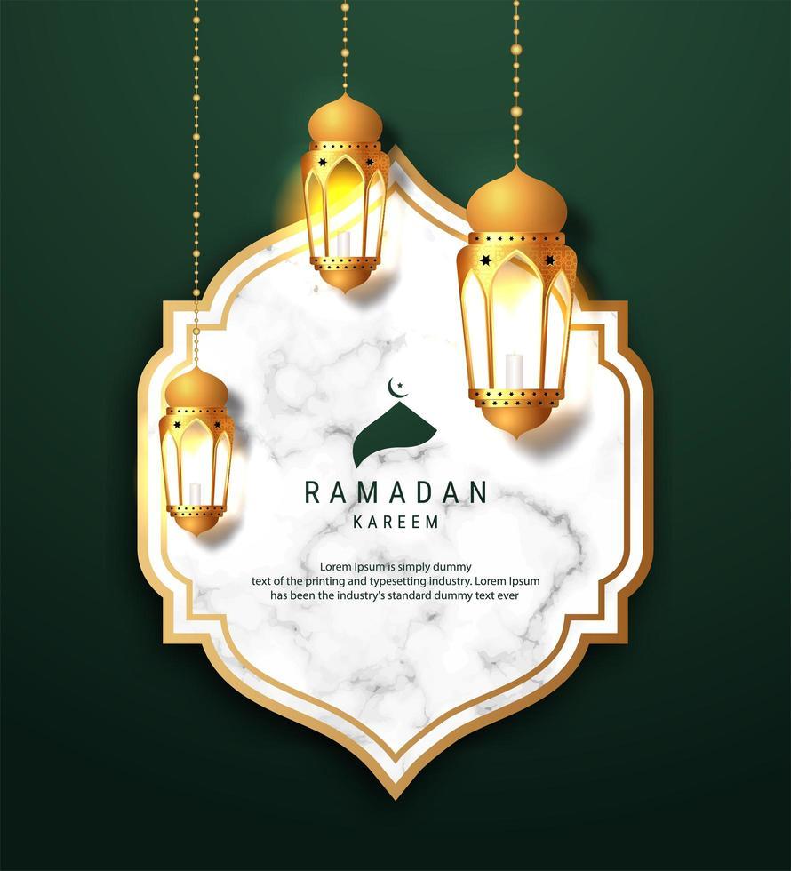 Ramadan Kareem arabo appeso sfondo di lanterne vettore