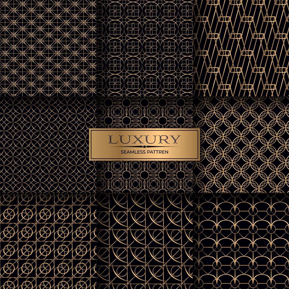 conjunto de patrones sin fisuras geométricas de oro de lujo vector