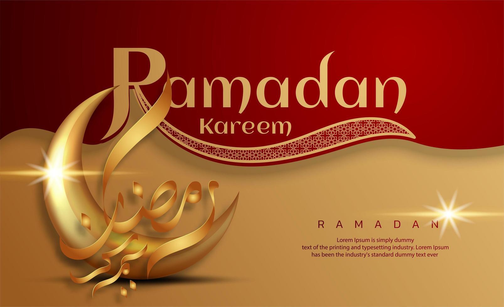 Ramadan Kareem rosso e oro con calligrafia a mezzaluna vettore