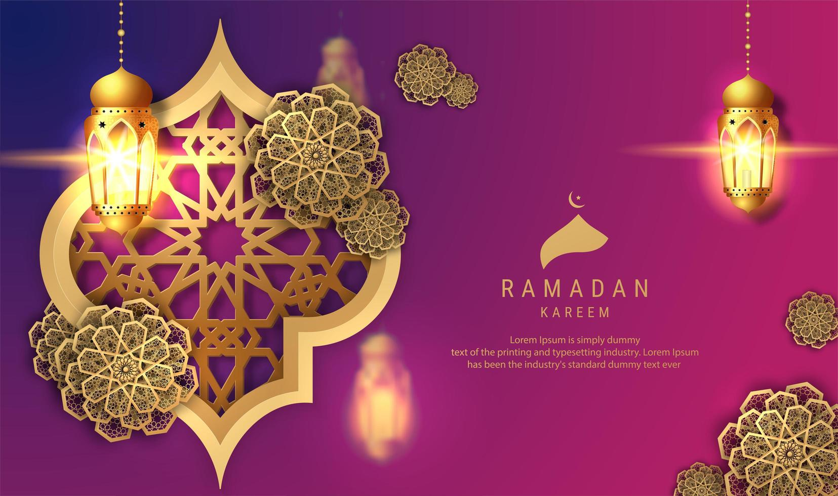 Ramadan Kareem sfondo viola con lanterne appese vettore