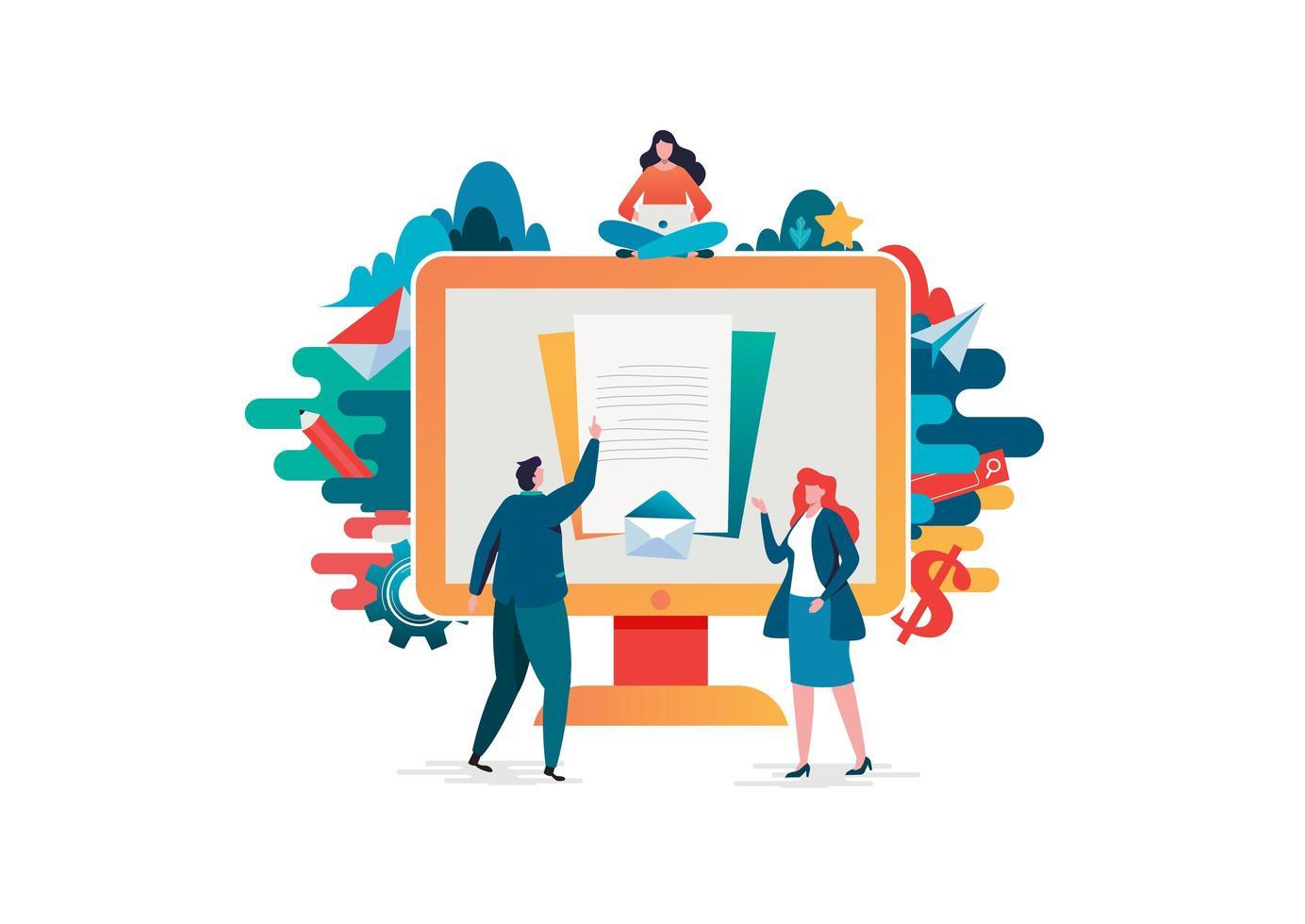 People doing paperwork online vector