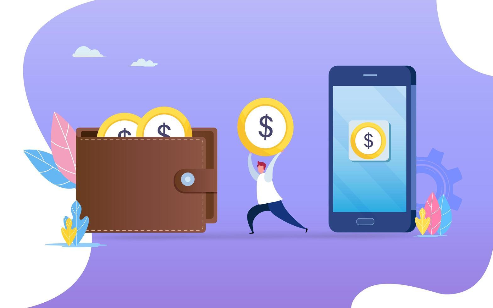 Persona que transfiere dinero del teléfono inteligente a la billetera. vector