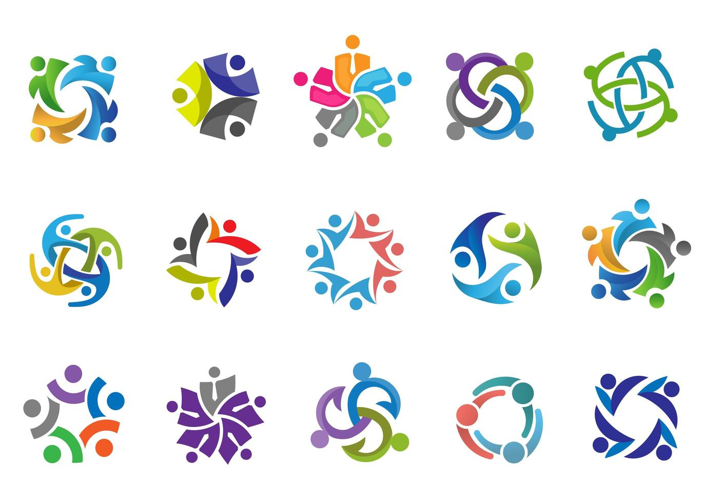 Colorful People and Community Logo Set vector