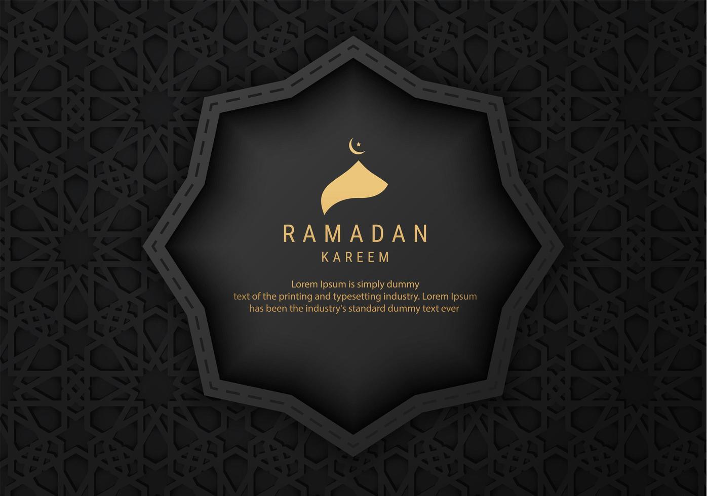 banner di ramadan kareem ornato nero vettore