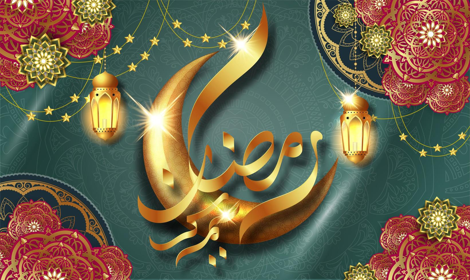 biglietto di auguri lucido di lusso ramadan kareem vettore