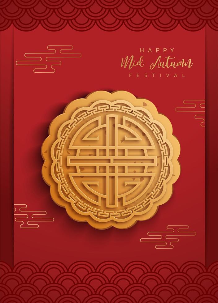 Cartel del festival de mediados de otoño chino con pastel de luna vector