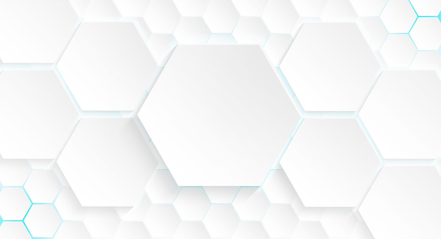 Multiple Hexagons with Blue Light and Shadow vector
