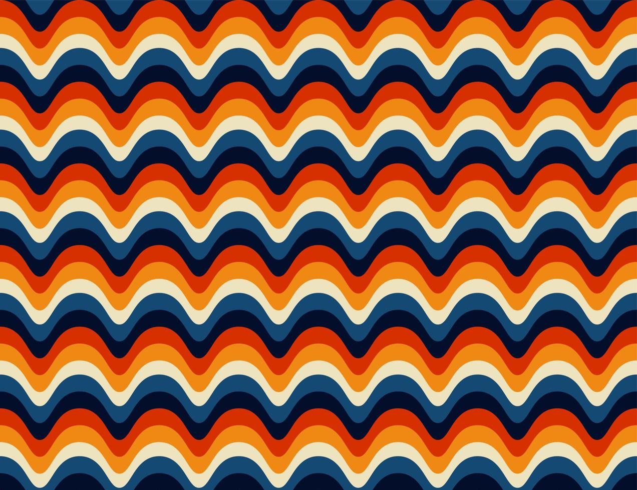 nahtloses Cuved Retro 70er Jahre Muster vektor