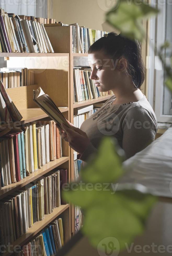 Young women in a vintage library photo