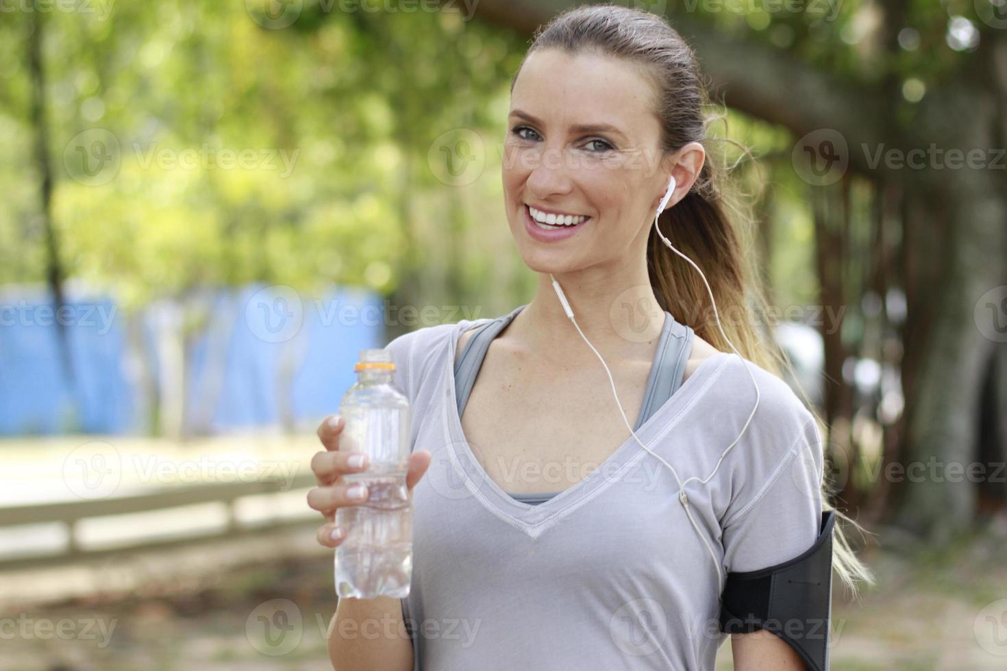 woman drinking water photo