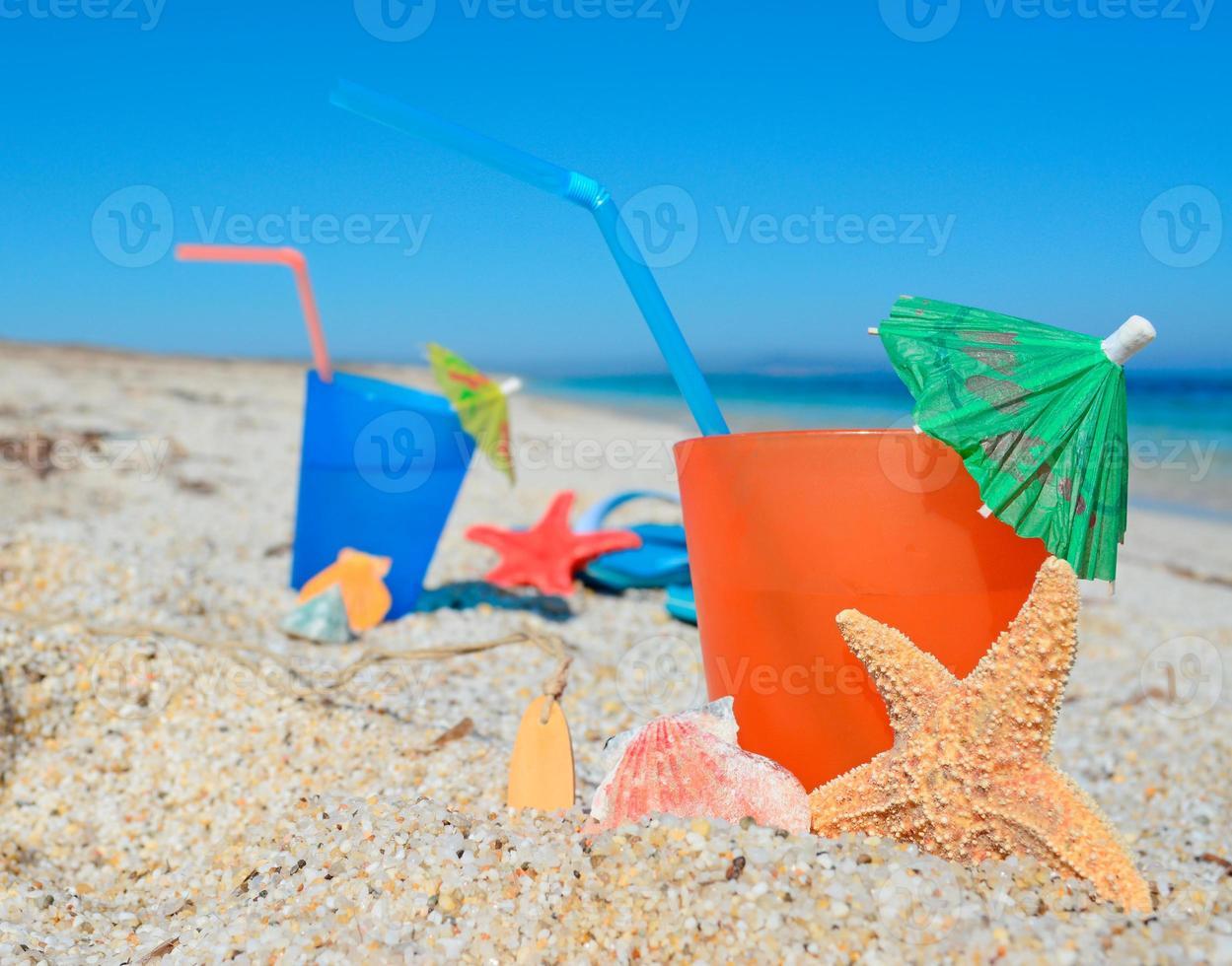 bebida y estrella de mar foto