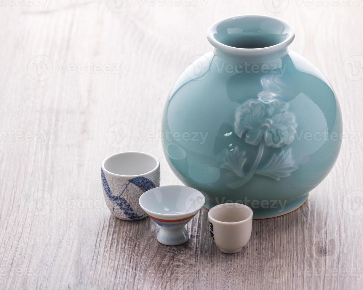 set de bebida de sake japonés foto