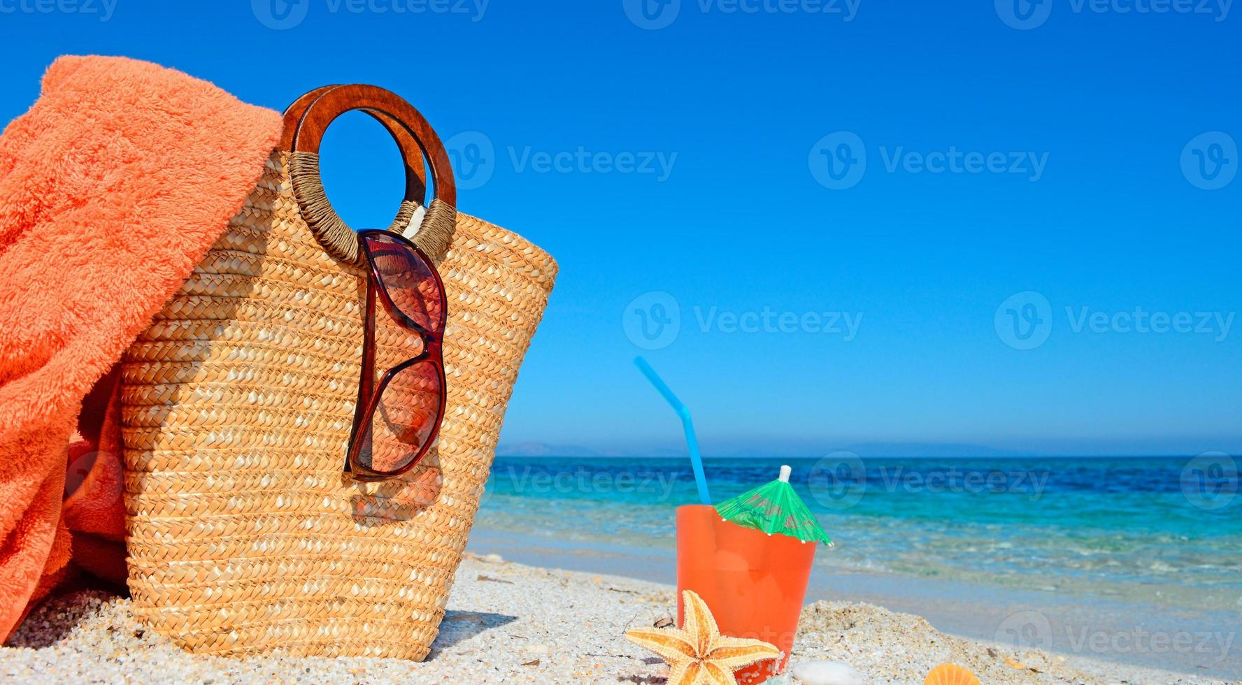 towel, bag and drink photo
