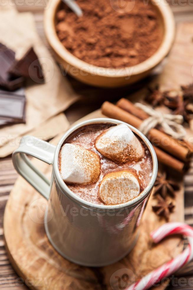 Cocoa drink with marshmallows photo